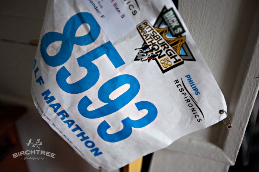 running bib for pittsburgh half-marathon