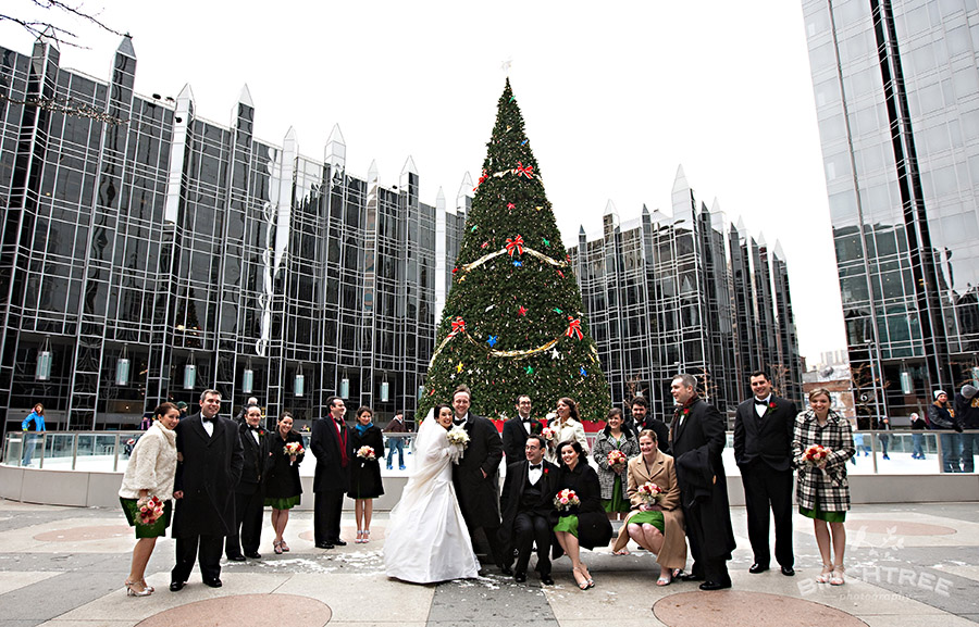 ppg plaza ice rink wedding photos