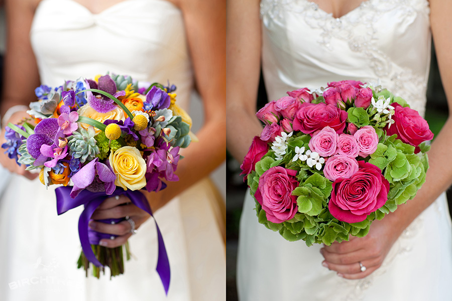 purple and yellow and pink and green bridal bouquets